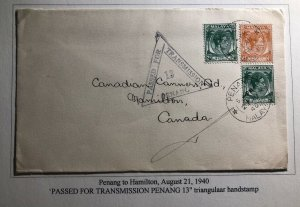 1940 Penang Malaya Commercial Censored Cover To Canners Hamilton Canada
