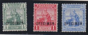 TRINIDAD 1909 set of 3 SG146-148 fine mint SPECIMEN........................67577