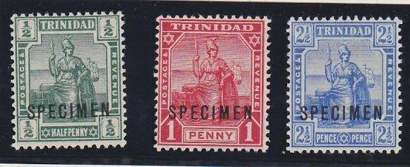 TRINIDAD 1909 set of 3 SG146-148 fine mint SPECIMEN........................67577