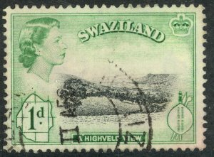 SWAZILAND 1956 QE2 1d HIGHVELD VIEW Pictorial Issue Sc 56 VFU