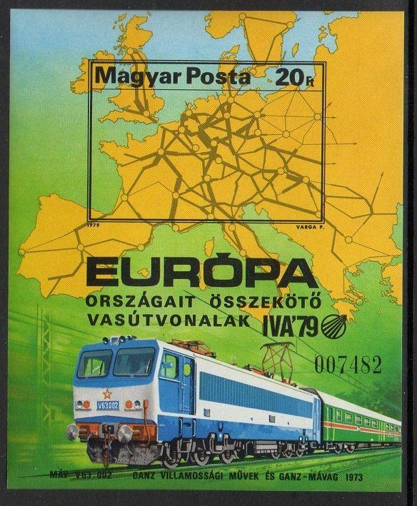 Hungary 1979 Railroad Map SS Imperf VF MNH (2580)