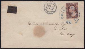 Local Stamp #15L13 - Bloods One Cent Dispatch with US#10A - Cat:$1,000.00