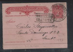 CHILE  (PP2601B) 1897  COLUMBUS 2C  LETTER CARD  SANTIAGO LOCAL USEAGE
