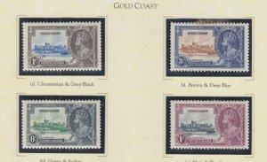 GOLD COAST, 1935 Silver Jubilee set of 4, heavy hinged.