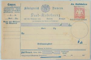 66770 - GERMANY BAYERN - Postal History - STATIONERY  CARD: Military Money Order
