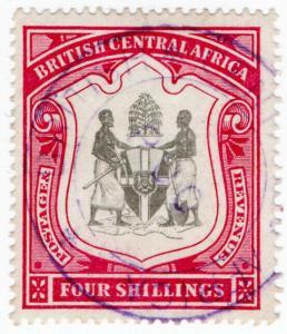 (I.B) Rhodesia/British Central Africa Revenue : Duty Stamp 4/- (Ruo)