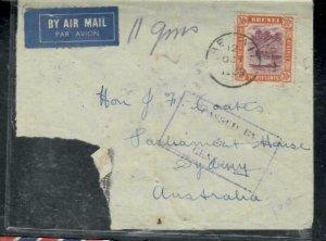 BRUNEI COVER (P1608B) 1939 30C+25C+5C A/M CENSOR PART COVER TO AUSTRALIA SCARCE