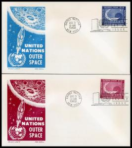 UN FDC #112-113 Peaceful Uses of Outer Space - Cachet Craft - Boll Cachet