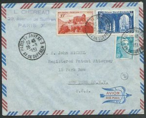 FRANCE 1951 Airmail cover to USA - nice franking...........................58125
