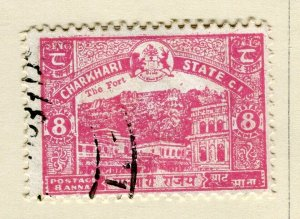 INDIA; CHARKHARI STATE 1932 early pictorial issue fine used 8a. value