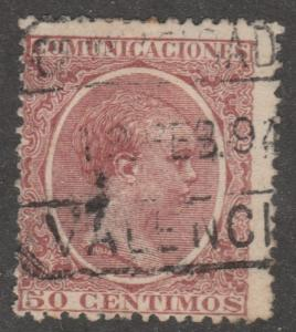 Spain stamp, used,Scott# 266,bright color, 50 centimos, #M411
