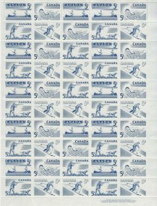 CANADA - #365-#368 - 5c RECREATION SPORTS LR PLATE #1 FULL SHEET (1957) MNH