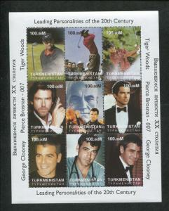 Turkmenistan Commemorative Souvenir Stamp Sheet Tiger Woods George Clooney