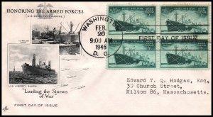 US 939 Merchant Marine Block of Four Artcraft Typed FDC