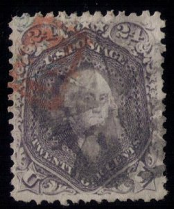 US Sc #78A 24c VF Washington Grayish Liliac Blk Cork & Magenta Cancellation 1863