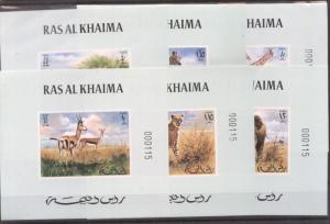 Ras al Khaima 1972 African fauna 6 imperf. sheet with numbers Mi.621-6 MNH DE...