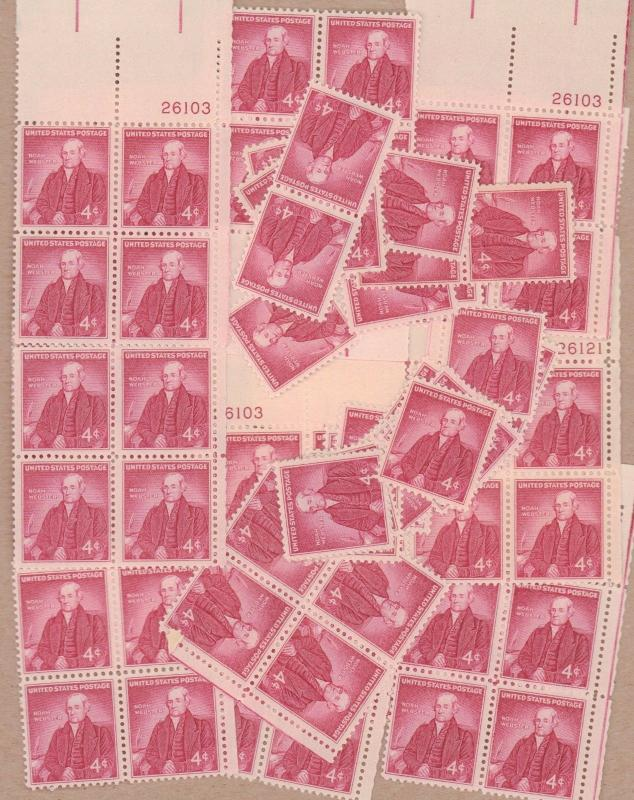 1121   Noah Webster, Author.   100 4 cent  mint single stamps.   Issued in 1958.