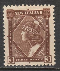 NEW ZEALAND 1936 MAORI 3D WMK MULTI NZ STAR PERF 14 X 13.5