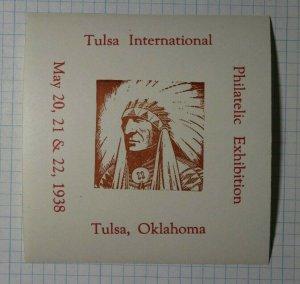 Tulsa International Exhibition Tulsa OK 1938 Philatelic Souvenir Ad Label