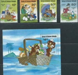 Turks & Caicos - Disney Characters - Set of 4 Stamps + S/S - 20K-002
