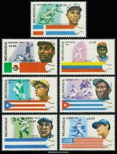 Nicaragua MNH 1384-90 History Of Baseball SCV 4.85