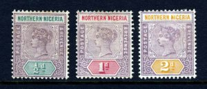 NORTHERN NIGERIA Queen Victoria 1900 Keyplate Group SG 1 to SG 3 MINT