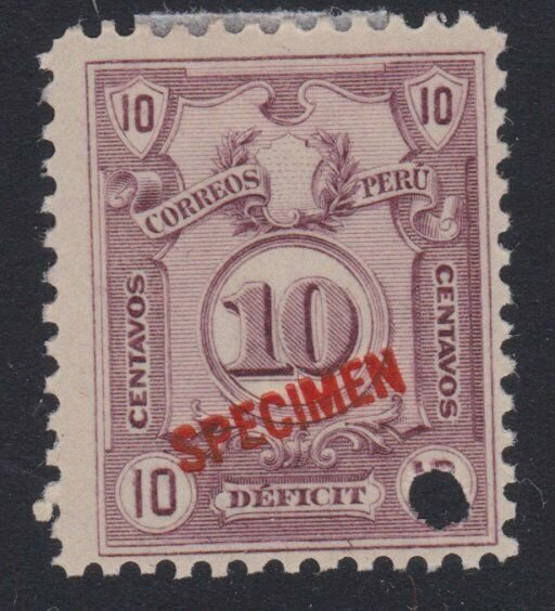 PERU 1909 Postage due SPECIMEN opt in red + security punch hole ............7978