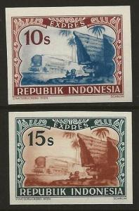 Indonesia 1949 Special Delivery PROOFS Set IMPERF #E1B-E1C VF-NH