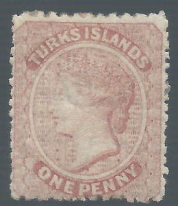 TURKS ISLANDS 1873 QV 1D WMK STAR
