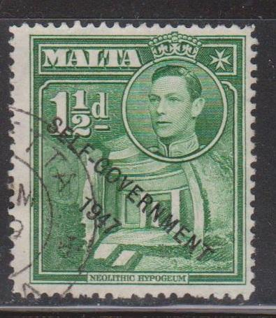 MALTA Scott # 236 Used - KGVI & Self-Government Overprint