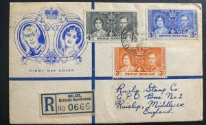 1937 Belize British Honduras first day cover Coronation King George VI To UK