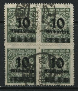 Germany 1923 10 billion marks overprinted on 50 million marks block of 4 used
