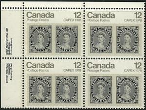 Canada USC #753 & 753ii Mint 1978 12c Capex UL PB VF-NH Cat. $15.