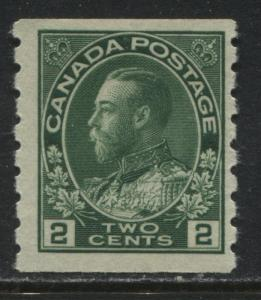 Canada KGV Admiral 1922 2 cents green coil mint o.g.
