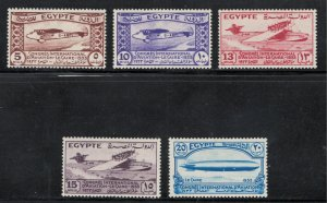 Egypt 1933 International Aviation Congress Scott # 172 - 176  MH
