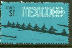 MEXICO C336, $1P Rowing 4th Pre-Olympic SINGLE. MINT, NH. F-VF.