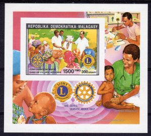 Madagascar 1992 Lions & Rotary International S/S Imperforated MNH Sc#1091