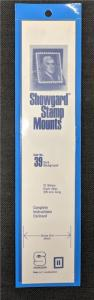 Stamp Mounts Supplies Showgard #39 New 15 strips 39mm by 215mm Black background