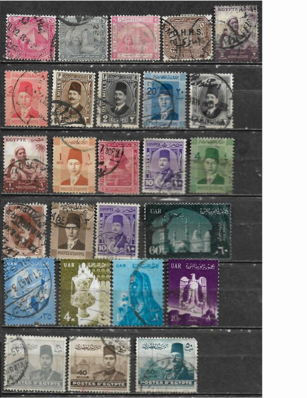 COLLECTION LOT OF 26 EGYPT STAMPS CLEARANCE