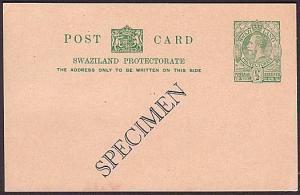 SWAZILAND GV ½d postcard overprinted SPECIMEN - fine & very scarce