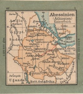 Germany Schaubek Poster Stamp ABYSSINIA Map A6098