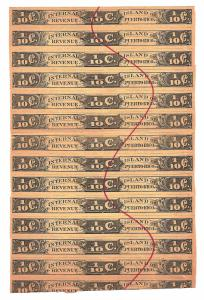 Island of Puerto Rico Internal Revenue tabaco tax 1/10 Cent strip of 13
