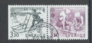 Sweden 1737 - 8 Used Attached Pair (2