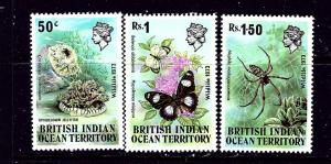 British Indian Ocean Terr 54-56 MNH 1973 Jellyfish Butterlies and Spiders