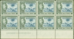 Gambia 1945 1 1/2d Blue & Black SG152c Superb MNH Imprint Block of 8