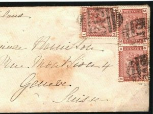 GB WALES Cover *Glasbury* Late Use *349* NUMERAL 4VOS SWITZERLAND 1881 89.17
