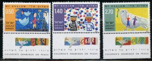 Israel MNH 622-4 W/Tabs Children's Drawings On Peace