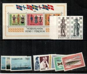 Faroe Islands Scott 90-101 Mint NH (1983 Year Set) - Catalog Value $28.30