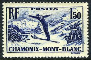 France 322, MNH. Intl. Ski Meet at Chamonix-Mont Blanc, 1937