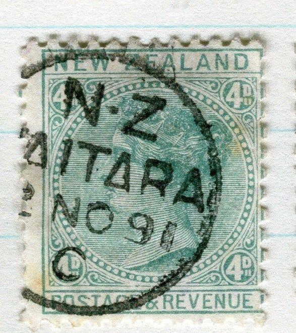 NEW ZEALAND;  1882-1900 QV side facer fine used 4d. value, Perf 12 x 11.5